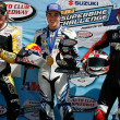 Slick, Josh Herrin, and Steve Rapp after the AMA Daytona SportBike race — Stock Photo