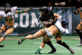 Michelle Jacot being tackled by Maggie Pearson during the match — Stock Photo