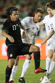 Giovani Dos Santos gets mugged by the New Zealand defense during the second half of the match — Stock Photo