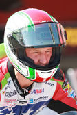 Larry Pegram on a Ducati 1098R right before the start of the race — Stock Photo