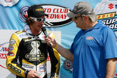 Danny Eslick after finishing 2nd during the AMA Daytona SportBike race — Stock Photo