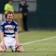 Dax McCarty complains to the ref during the game — Stock Photo