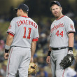 RyZimmermand Adam Dunn have quick chat during break in play of game — Stock Photo #14901211