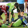 Fredy Montero gets laid out by Zach Thornton during the game — Stock Photo
