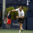 Flavio Cipolla practices his serve against Jack Sock during tennis match — Stock Photo #14902747
