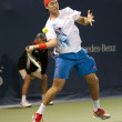 Jack Sock forehands his return to Flavio Cipolla during the tennis match — Stock Photo #14902823