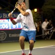 Jack Sock winds up his smash to Flavio Cipolla during the game — Stok fotoğraf