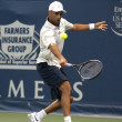 James Blake backhand his return during the game - 图库照片