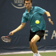 Tobias Kamke forehands his return during the game - Stock Photo