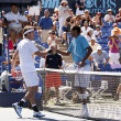 Leonardo Mayer and Rajeev Ram shake hands during the game — Stock Photo #14903603