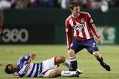 David Ferreira slide tackles and fouls Ben Zemanski during the game — Stock Photo