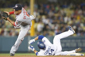 Jamey Carroll slides into second and beats the tag by Ian Desmond during the game — Stock Photo
