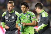 Fredy Montero walks off a mid air collision during the game — Stock Photo