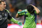 FREDY MONTERO (R) walks off a mid air collision during the game — Stock Photo
