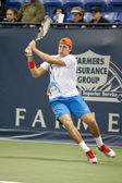 Jack Sock follow through on a backhands return to Flavio Cipolla during the tennis match — Stock Photo