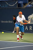 Jack Sock reaches with a backhand to Flavio Cipolla during the tennis match — Stock Photo