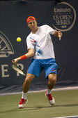Jack Sock forehands his return to Flavio Cipolla during the game — Stock Photo