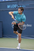 Tobias Kamke returns a serve during the game — Stock Photo