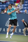 Tobias Kamke backhand his return during the tennis game — Stock Photo