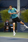 Tobias Kamke goes airborne in his return during the tennis game — Stock Photo