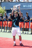 Ricardas Berankis salutes the crowd with his second place trophy — Stock Photo