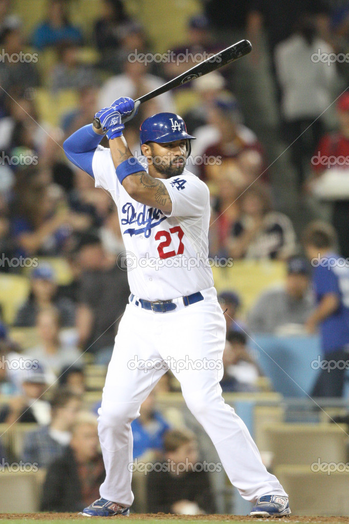 6 August 2010: Dodgers CF Matt Kemp at bat during the Nationals vs. Dodgers game at Dodgers Stadium in Los Angeles, California. The Nationals went on to defeat the Dodgers with a final score of 6-3 — Stock Photo #14901027