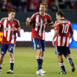Jimmy Conrad celebrates after a Chivas USA goal during the game — Stock Photo