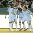 Sporting Kansas City celebrates an early goal during the game - Stock Photo
