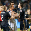 Stock Photo: Chad Barrett gets surrounded by PhiladelphiUnion players after shoving match broke out during game