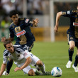 Stock Photo: Todd Dunivant, Sheanon Williams and Sebastien Le Toux in action during game