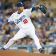 Hiroki Kuroda in action during the game - Foto de Stock