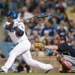 Juan Uribe takes a swing at bat during the game — Stock Photo