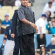 Fernando Valenzuela of the Los Angeles Dodgers before the - Foto de Stock