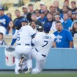 Stock Photo: Aaron Miles and James Loney collide and drop pop up during game