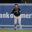 Royalty-Free Stock Photo: Carlos Gomez gets under a fly ball during the game