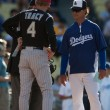 Stock Photo: Jim Tracy and manager Don Mattingly before game