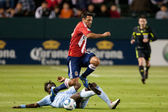 Ante Jazic jumps over the slide tackle of Kei Kamara during the game — Stock Photo