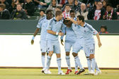 Sporting Kansas City celebrates an early goal during the game — Stock Photo