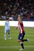 Jimmy Conrad celebrates a Chivas USA goal during the game — Stock Photo