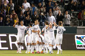 The Los Angeles Galaxy after a goal late in the 1st half of the game — Stock Photo