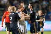 Chad Barrett gets surrounded by Philadelphia Union players after a shoving match broke out during the game — Stock Photo