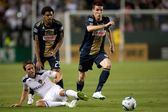 Todd Dunivant, Sheanon Williams and Sebastien Le Toux in action during the game — Stock Photo