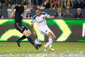 Landon Donovan and Danny Califf in action during the game — Stock Photo