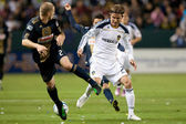 David Beckham and Jordan Harvey in action during the game — Stock Photo