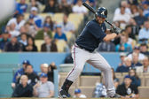 Brian McCann keeps his eye on the ball while at bat during the game — Stock Photo