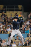 Freddie Freeman at bat during the game — Stock Photo