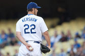 Clayton Kershaw pitches during the game — Stock Photo