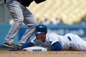 Rafael Furcal slides head first in to second during the game — Stock Photo