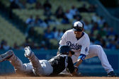 Jamey Carroll tags out Carlos Gonzalez during the game — Stock Photo