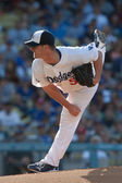 Chad Billingsley pitches during the game — Stock Photo